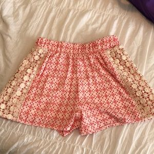 Blue rain patterned pink and red shorts